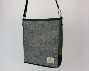 One Of A Kind Purse - Lightweight Crossbody Tote - Eco Conscious - Unique Gift - Shoulder Bag - Grey olive Green Bag - Purse with Pockets