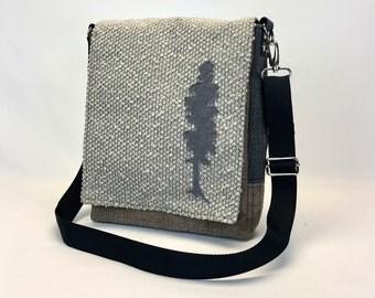 Messenger Bag with Tree - One Of A Kind Purse - Lightweight Crossbody Tote - Eco Conscious - Computer Bag - Unique Gift - Shoulder Bag
