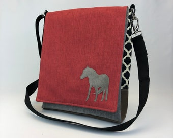 Messenger Bag w Horse - One Of A Kind - Durable Lightweight Purse - Eco Conscious - Crossbody Bag