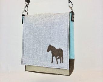 Messenger Bag - Lightweight Durable Purse w Horse - Adjustable Wide Leather Strap - Laptop Bag - Eco Conscious - Unique Graduation Present