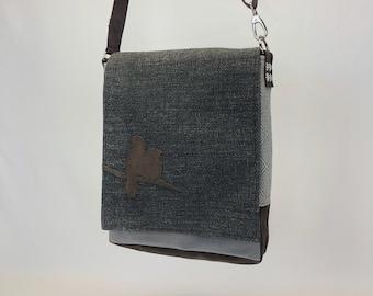 Messenger Bag with Birds - One Of A Kind Purse - Lightweight Crossbody Tote - Eco Conscious - Computer Bag - Unique Gift - Shoulder Bag