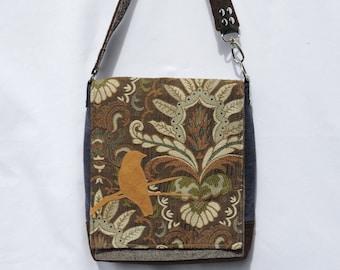 Loungefly owl brown crossbody bag denim faux leather applique
