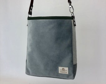 One Of A Kind Purse - Lightweight Crossbody Tote - Eco Conscious - Unique Gift - Shoulder Bag - Velvety Soft Grey Bag - Purse with Pockets
