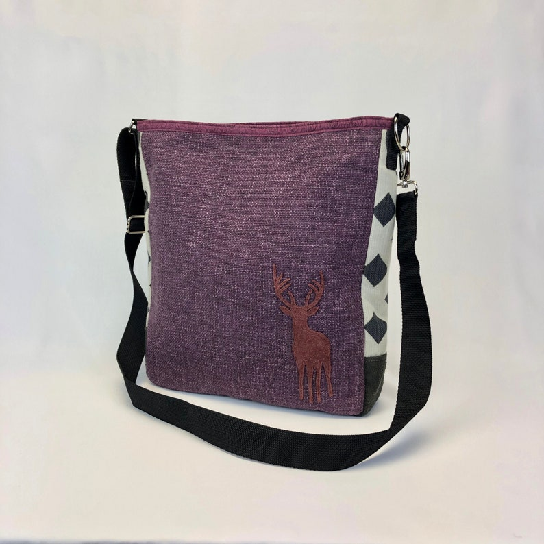 Large Cross Body Bag in Purple with Elk One Of a Kind image 0