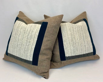 Set of Cushion Covers - Two 20 x 20 Pillow Cases - Home Decor - Rustic Decor - Modern Farmhouse- Eco Conscious - Ready to Ship