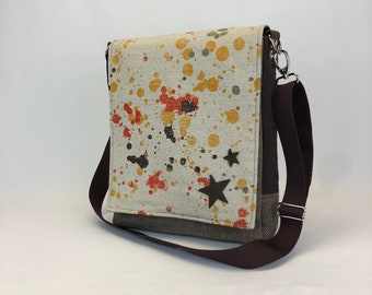 Messenger Bag w Stars - One Of A Kind - Durable Lightweight Purse - Eco Conscious - Crossbody Bag - Unique Gift - Computer Tote