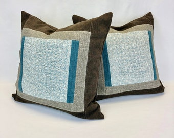"""Throw Pillow Covers - 20"""" x 20"""" Cushion Covers - One Of A Kind - Modern Farmhouse Chic - Eco Conscious - Home Decor"""