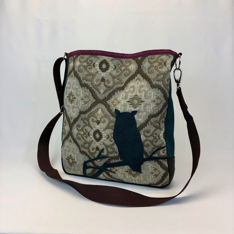 Large Cross Body Bag with Owl  One Of A Kind Purse Durable image 0