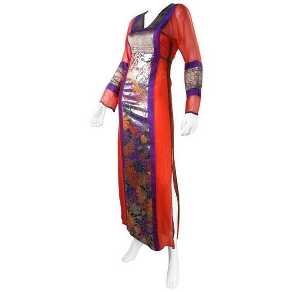 Thea Porter Gown 1970's Metallic Silk Vintage