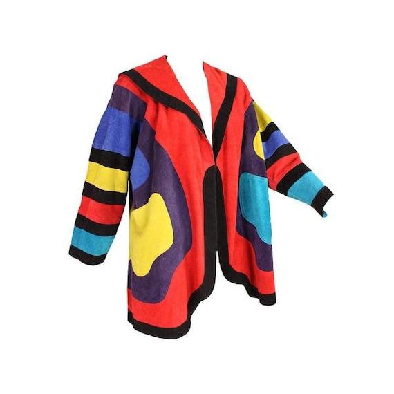 Jean Muir Coat 1970's Colorblocked Suede Vintage