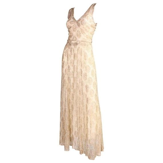 1930's Gown Ivory Lace & Gold Lamé Vintage