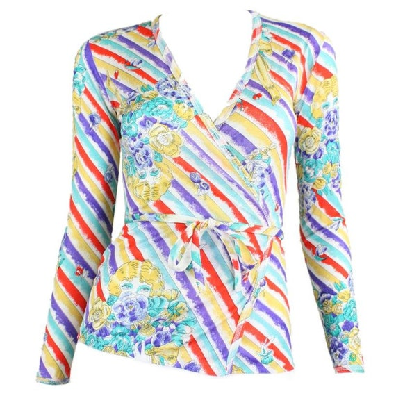1970's Wrap Top with Figural Print in Bold Hues Vi