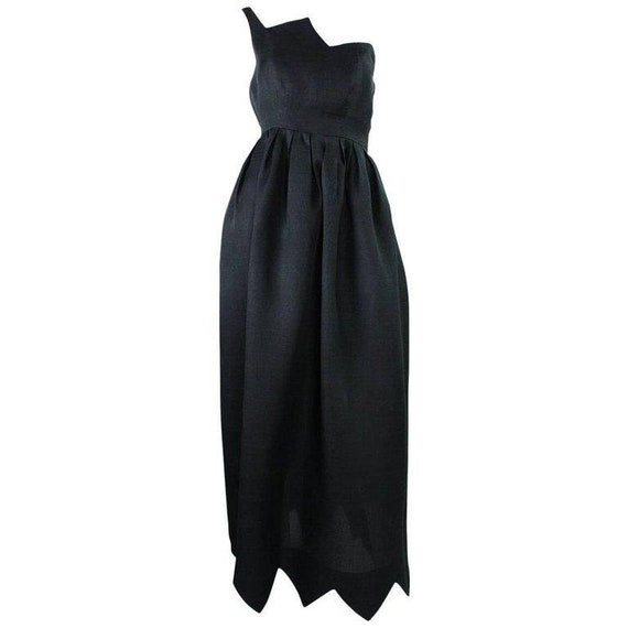 Vintage 1960\'s Christian Dior Black Gown with Zigzag