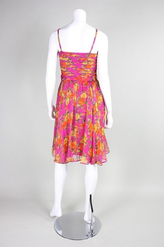 Valentino Cocktail Dress 1990's Floral Printed Si… - image 6