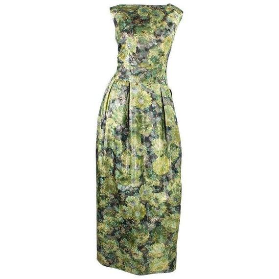 1960's Gown Green Floral Jacquard Lamé Vintage