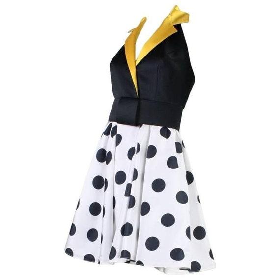 1980's Dress Kathryn Conover Polka-Dotted Halter V
