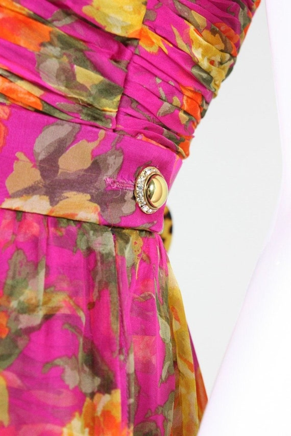 Valentino Cocktail Dress 1990's Floral Printed Si… - image 8
