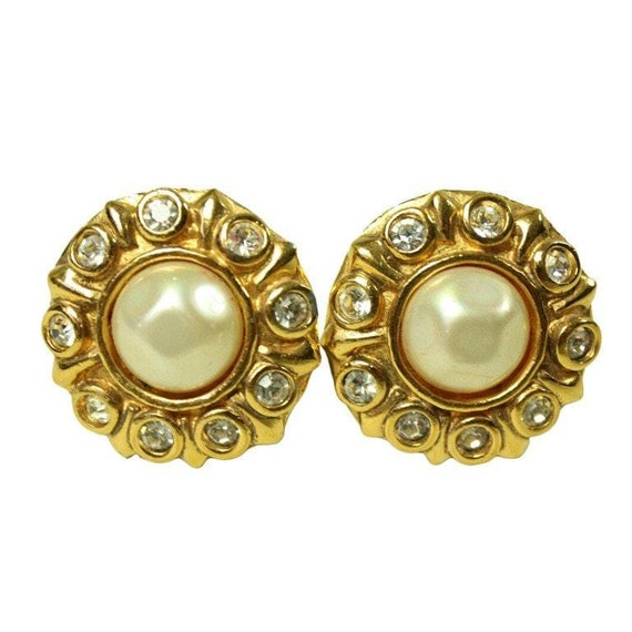 Chanel Earrings 1980's Rhinestone & Pearl Vintage