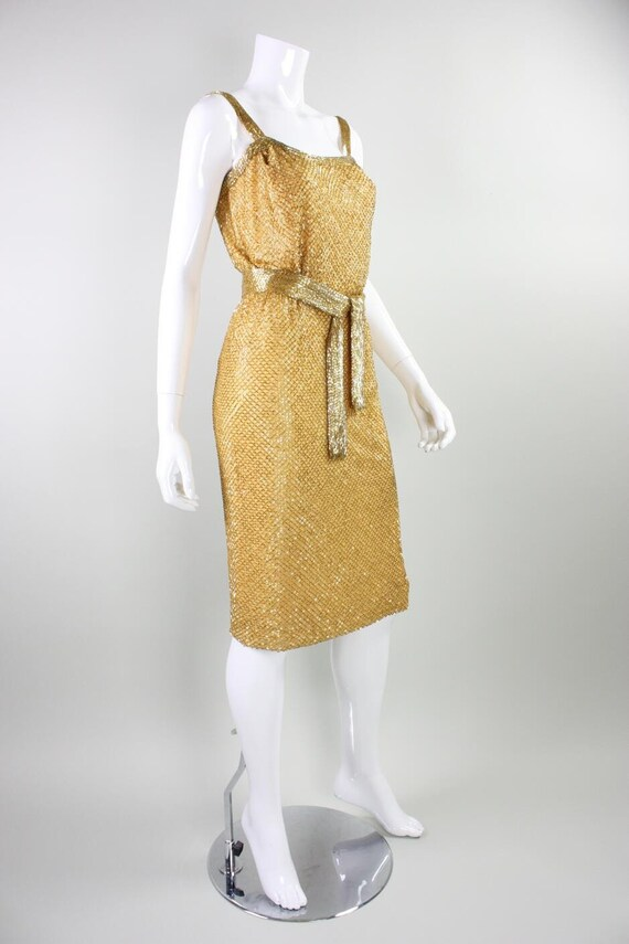 Ceil Chapman Party Dress 1950's Beaded Vintage - image 4