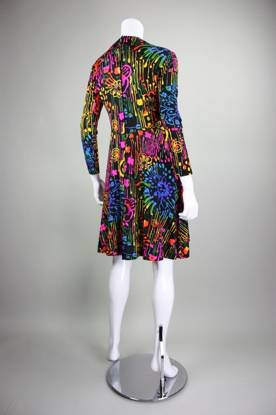 1970's Dress with Neon Psychedelic Print Vintage - image 5