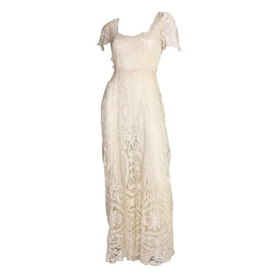 Edwardian Dress Battenburg Lace Vintage