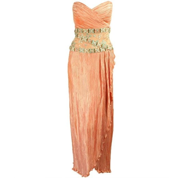 Mary McFadden Couture Gown 1980's Strapless Vintag
