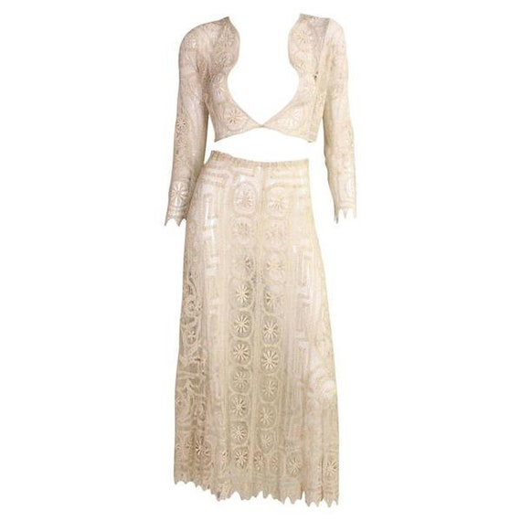 1930's Cream Cotton Lace Ensemble Vintage