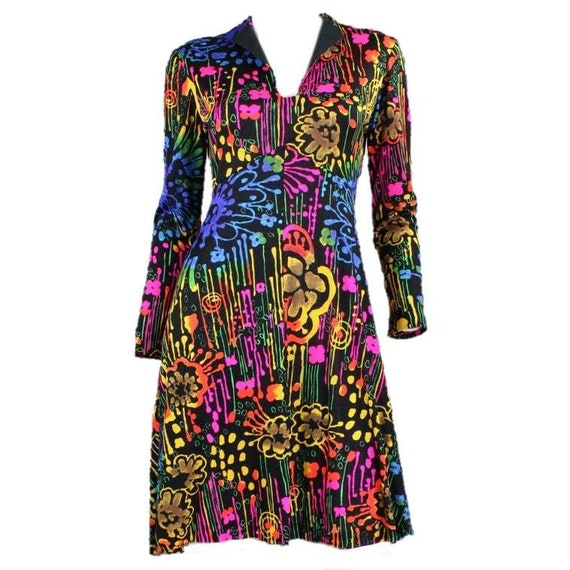 1970's Dress with Neon Psychedelic Print Vintage - image 1