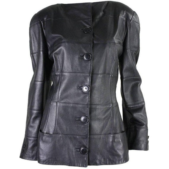 Krizia Jacket 1980's Black Leather Vintage