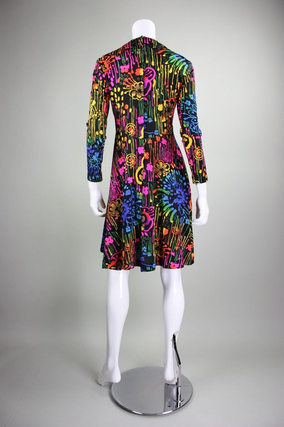 1970's Dress with Neon Psychedelic Print Vintage - image 6