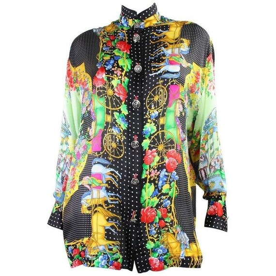 Versace Blouse 1990's Silk Charmeuse Vintage
