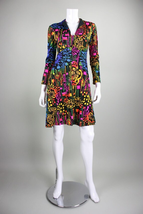 1970's Dress with Neon Psychedelic Print Vintage - image 3