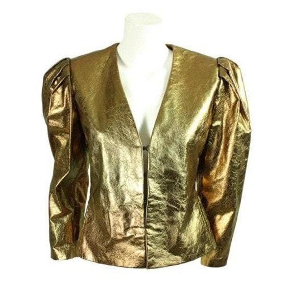 Bill Blass Jacket 1980's Metallic Leather Vintage