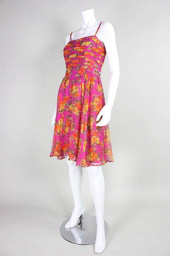 Valentino Cocktail Dress 1990's Floral Printed Si… - image 3