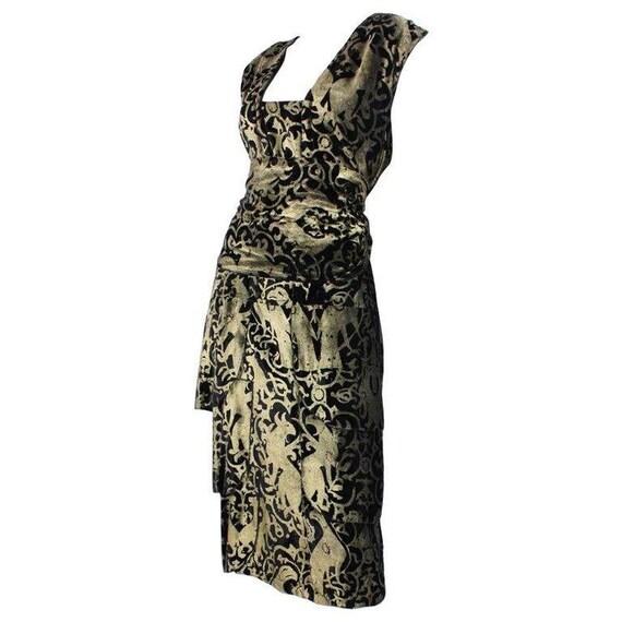 Fiorella Mancini Sheath Dress Stenciled Velvet Art