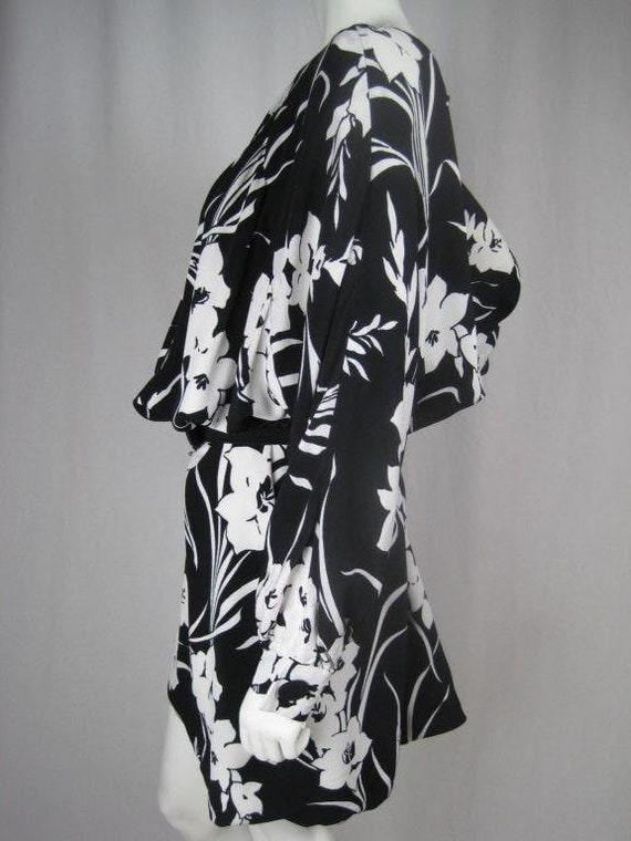 1980's Dress Graphic Floral Vintage - image 2