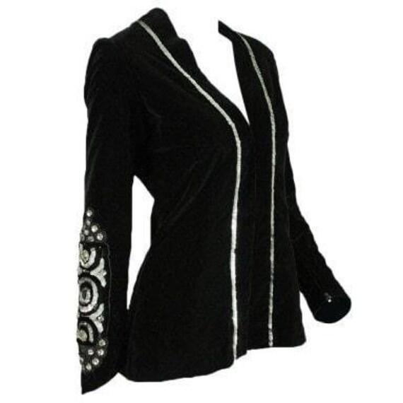 Thea Porter Jacket 1970's Velvet With Sleeve Embel