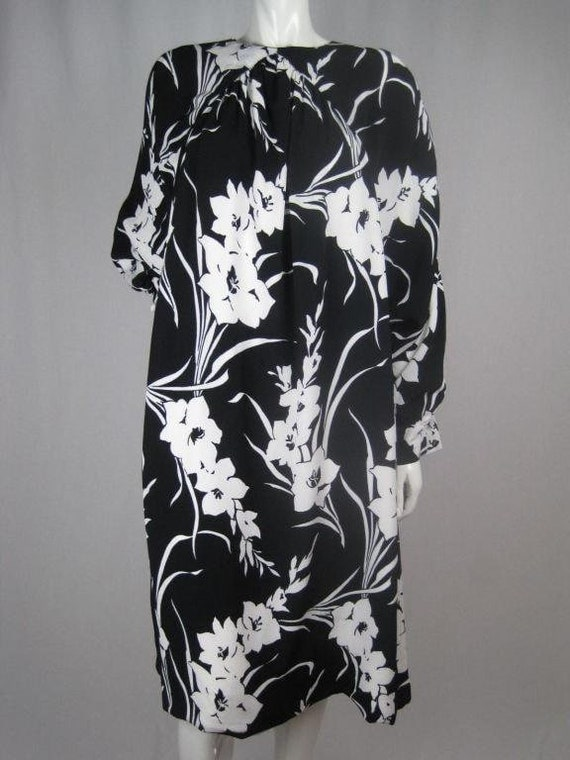 1980's Dress Graphic Floral Vintage - image 4