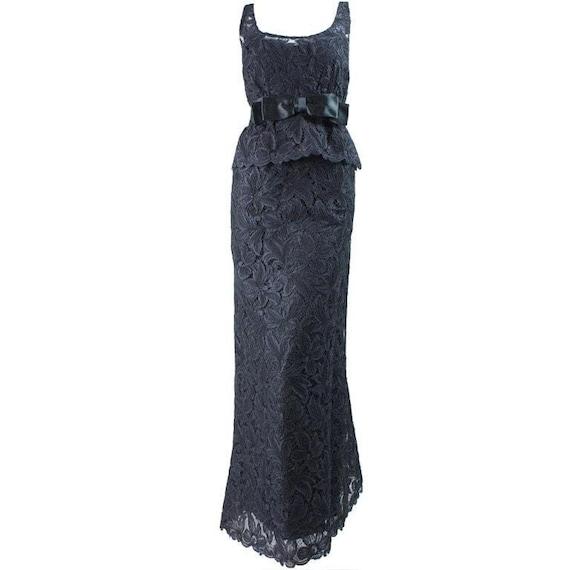 Mollie Parnis Gown 1960's Black Lace Vintage