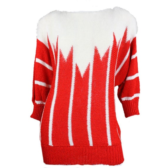 1980's Sweater Red & White Mohair Stripe
