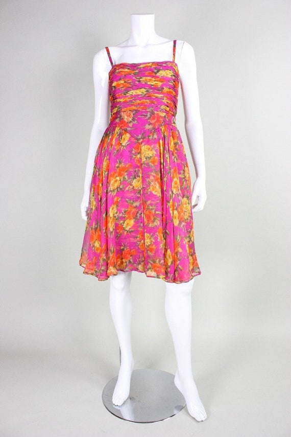 Valentino Cocktail Dress 1990's Floral Printed Si… - image 2