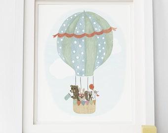 Hot Air Balloon Art Print - Kid's Room Art, Hot Air Balloon Nursery Art, Treehouse Illustration, Exploration Themed Decor, Children's Art