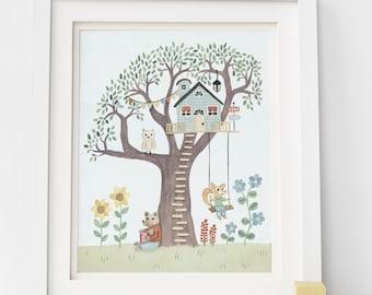 Woodland Treehouse Art Print - Kid's Room Art, Woodland Nursery Art, Treehouse Illustration, Woodland Themed Decor, Explore Kid's Art Print
