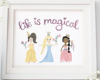 Princess Art Print - Princess Wall Art, Watercolor Princess Art, Disney Princess Art Print, Art Print for Girls Room, Magical Princess Art