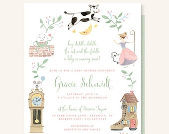 Nursery Rhyme Baby Shower Invitation - Cow Jumped Over the Moon, Hey Diddle Diddle, The Cat and the Fiddle, Little Bo Peep, Humpty Dumpty