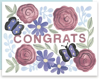 Congratulations Card, Congrats Butterfly Card, Floral Congrats Card, Floral Congratulations, Wedding Congrats Card, Butterfly Floral Congrat