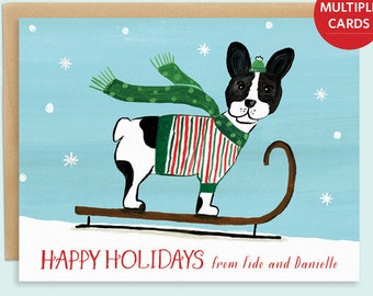 french bull dog christmas card with holiday dog illustration dog holiday card dog christmas card hand painted dog cards - Pet Holiday Cards