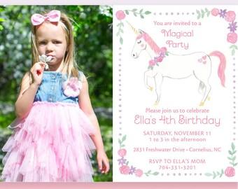 Unicorn Birthday Invitation Photo Card, Magical Birthday Invitation, Unicorn Invitation, Unicorn Party, Unicorn Birthday Party, Unicorn