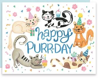 Cat Birthday Card, Happy Purr-day Cat Card, Cat Birthday Gift, Happy Birthday Cat Card, Party Cats, Cat Party Card, Cat Birthday Party