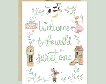 baby congratulations card nursery rhyme baby card nursery rhyme shower card new baby card congratulations baby card welcome sweet one